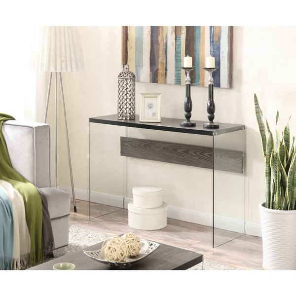 Convenience Concepts Soho Wood Glass Console Table   Free Shipping Today    Overstock.com   19143593