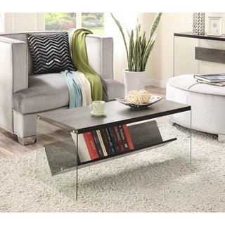 Convenience Concepts Soho Wood Glass Coffee Table