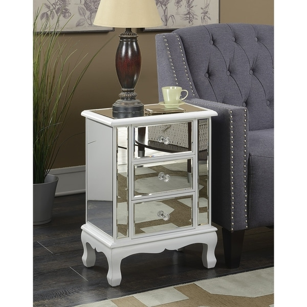 Gold Coast Vineyard 3 Drawer Mirrored End Table   Free Shipping Today    Overstock.com   19143600