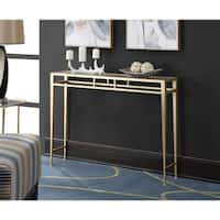 Silver Orchid Grant Iron and Glass Hall Console Table