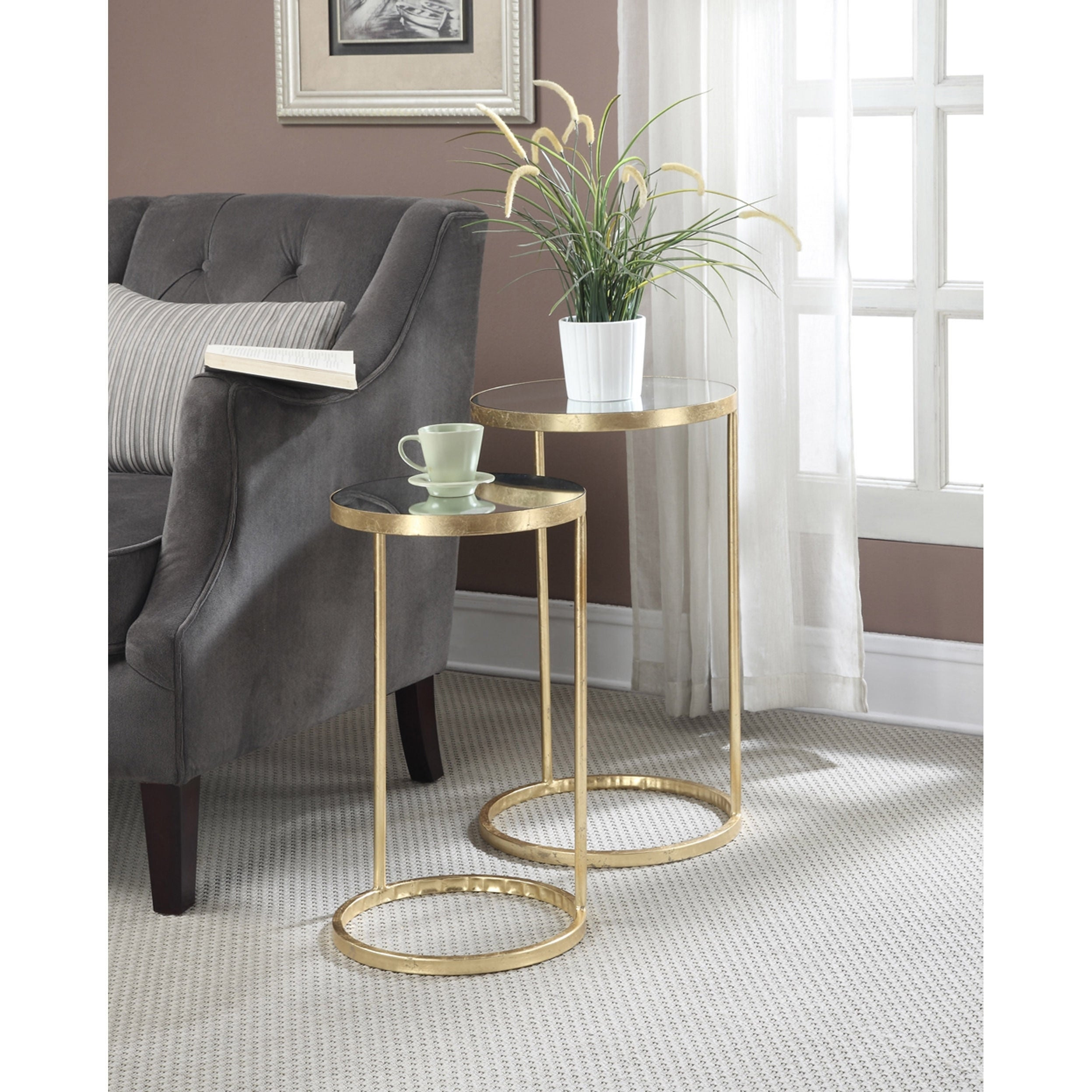 Gold Outdoor Coffee Table: Shop Convenience Concepts Gold Coast Round Nesting Mirror