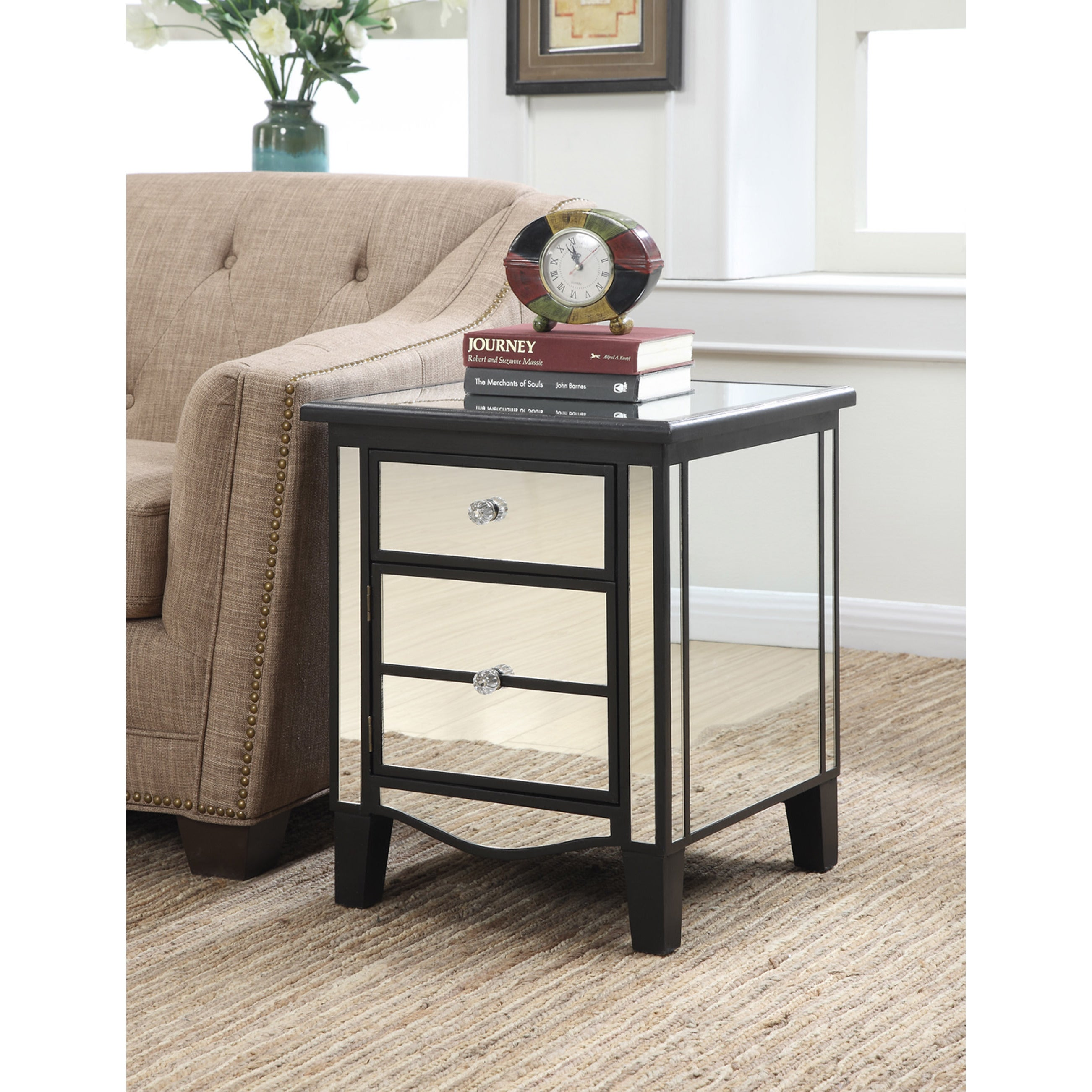 Shop gold coast park lane mirrored end table in black gold or silver free shipping on orders over 45 overstock com 12309000