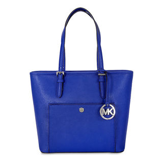 Michael Kors Jet Set Medium Electric Blue Snap Pocket Tote Bag