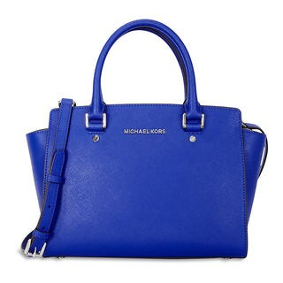 Michael Kors Selma Electric Blue Leather Satchel Handbag