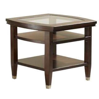Broyhill Wood and Glass Northern Lights End Table with Shelves