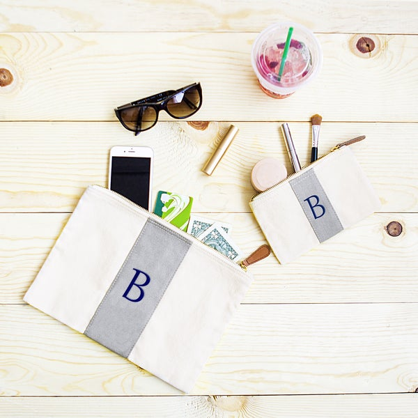 Personalized Striped Grey Canvas/Leather Clutch Set