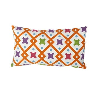 Multicolor Cotton 13-inch x 24-inch Embroidered Throw Pillow