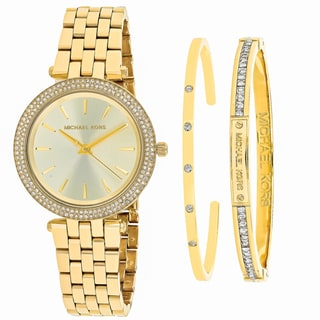 Michael Kors Women's MK3430 Mini Darci gift set Round Gold tone dial Stainless steel bracelet Watch