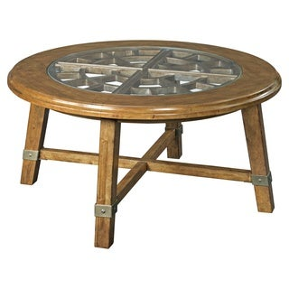 Broyhill New Vintage Brown Round Grid Cocktail Table