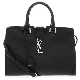 Saint Laurent Small Cabas Black interlocking Clasp Top Handle Leather Handbag