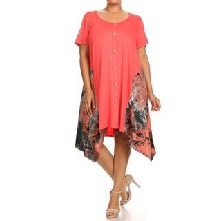 Women's Multicolored Rayon/Spandex Plus-sSize Button-trim Dress
