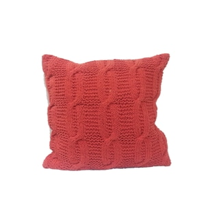 Cable Knit Cotton and Polyester 18-inch x 18-inch Square Throw Pillow