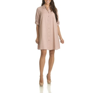 Sharagano Women's Roll Tab Sleeve Shirt Dress