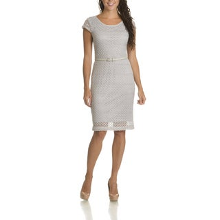 Sharagano Women's Crochet Belted Sheath Dress
