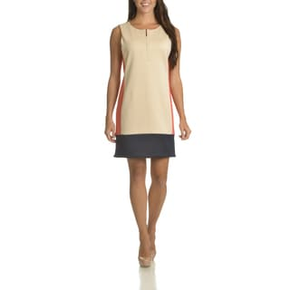 Sharagano Women's Colorblock 3/4 Zip Front-shift Dress