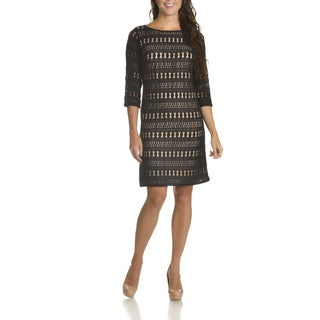 Sharagano Women's Multicolored Nylon-blended Crochet 3/4 Sleeve Sheath Dress