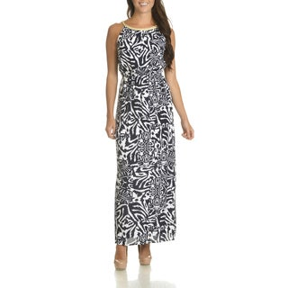 Nina Leonard Women's Abstract Print Rayon Maxi Dress