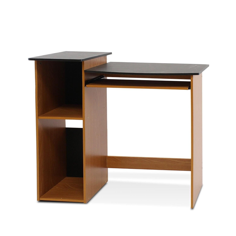 Multipurpose Light Cherry And Black Wood Computer Writing Desk