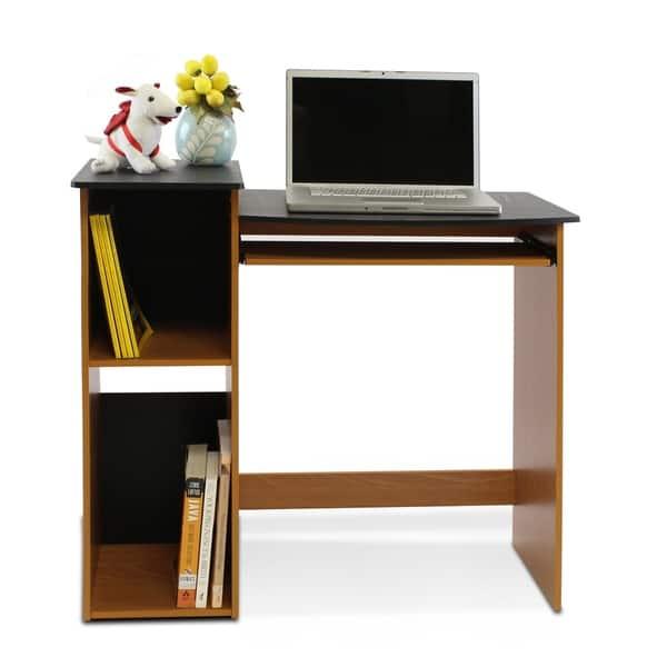 Multipurpose Light Cherry And Black Wood Computer