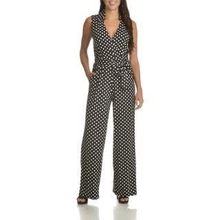 Nina Leonard Women's Polka Dot Belted Jumpsuit