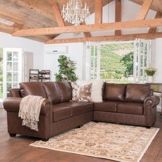Martha 3-piece Brown Leather Sectional Sofa Set by Christopher Knight Home
