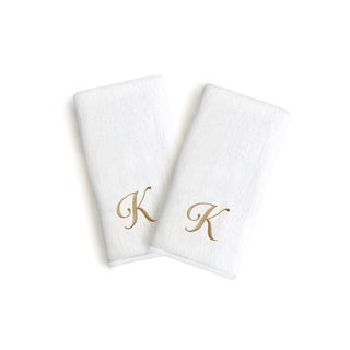 Authentic Hotel and Spa 2-piece White Turkish Cotton Hand Towels with Gold Script Monogrammed Initial