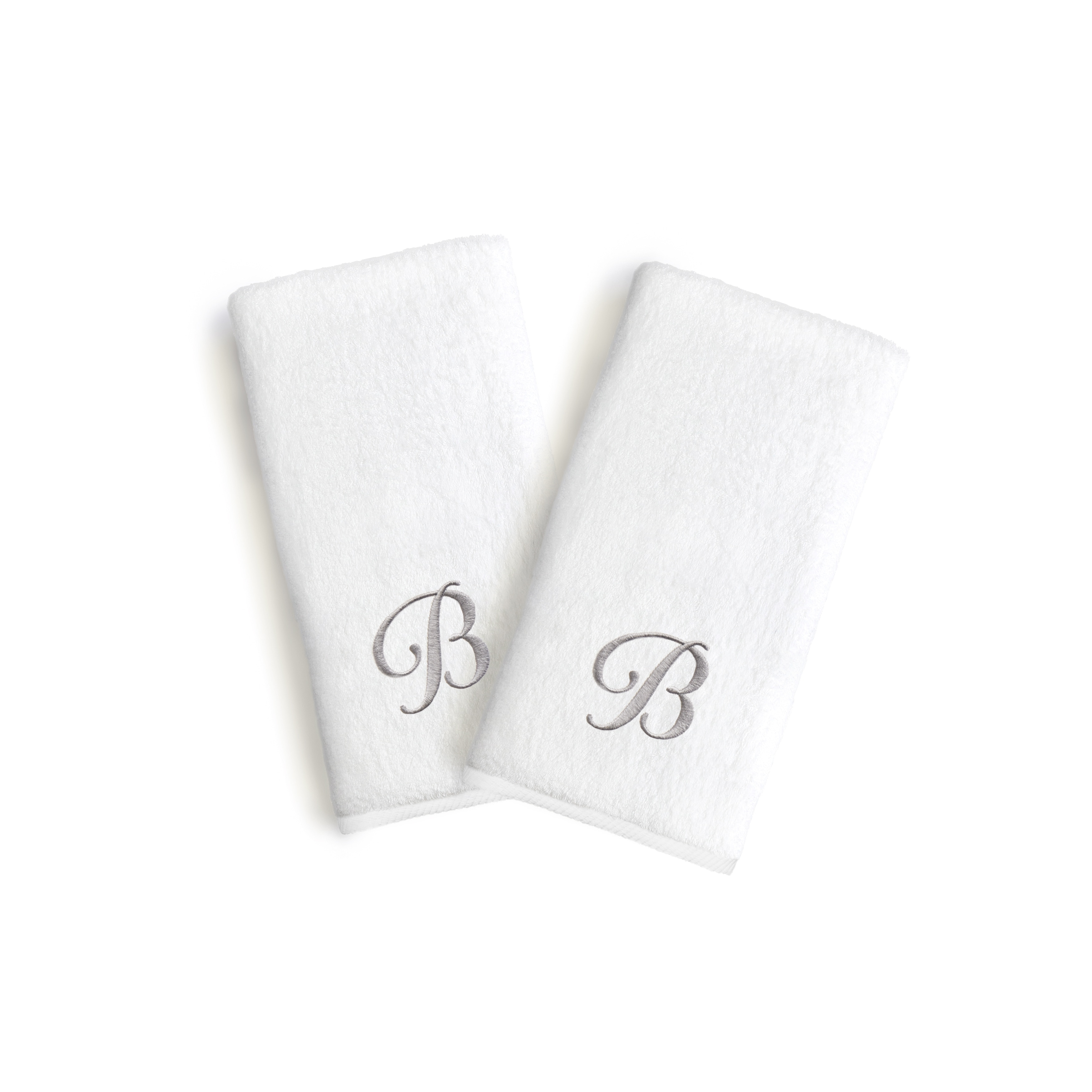Authentic Hotel and Spa 2-piece White Turkish Cotton Hand Towels with Grey Script Monogrammed Initial