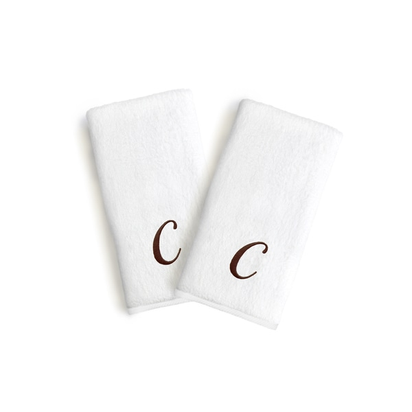 Authentic Hotel and Spa 2-piece White Turkish Cotton Hand Towels with Brown Script Monogrammed Initial