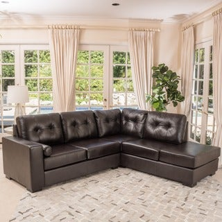Elisa 2-piece Brown Leather Sectional Sofa Set by Christopher Knight Home