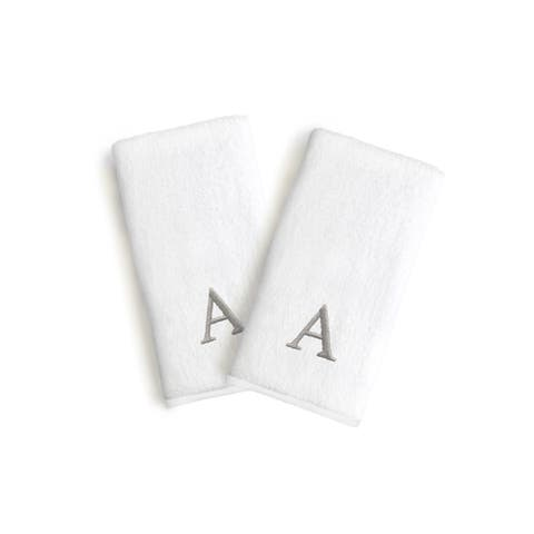 Authentic Hotel and Spa 2-piece White Turkish Cotton Hand Towels with Grey Block Monogrammed Initial