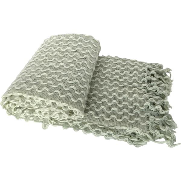 Green Textured Zig-zag Crochet Fringed Throw
