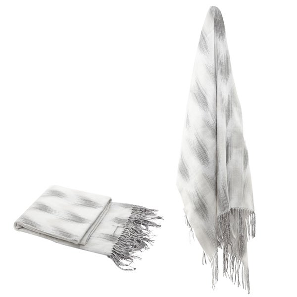 Grey Space Dyed Fringed Throw