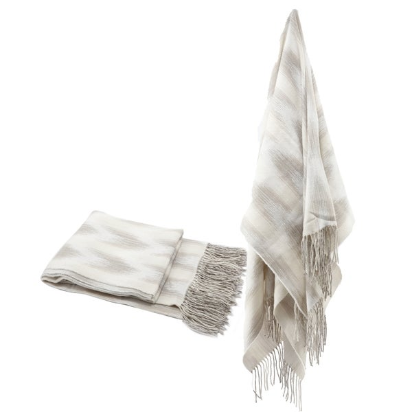 Beige Space Dyed Fringed Throw