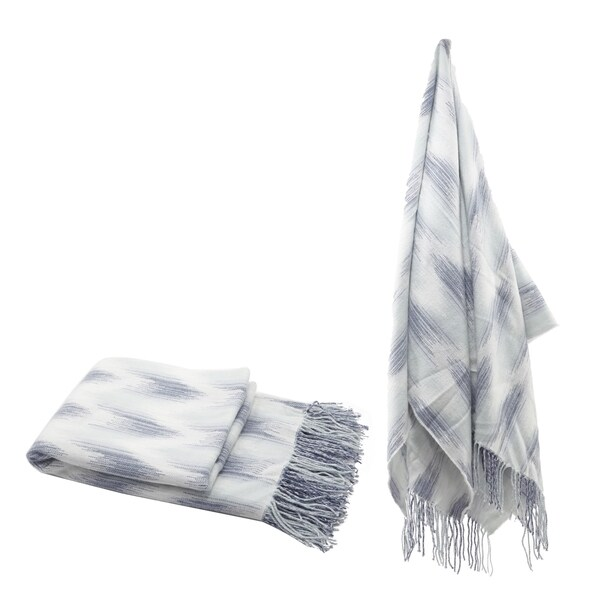 Blue Space Dyed Fringed Throw