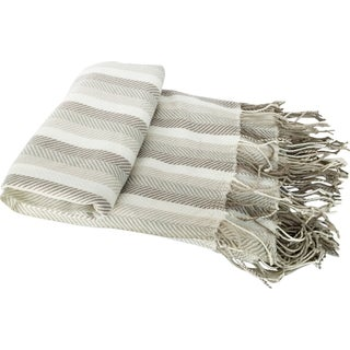 Beige Herringbone Cashmere-like Fringed Throw