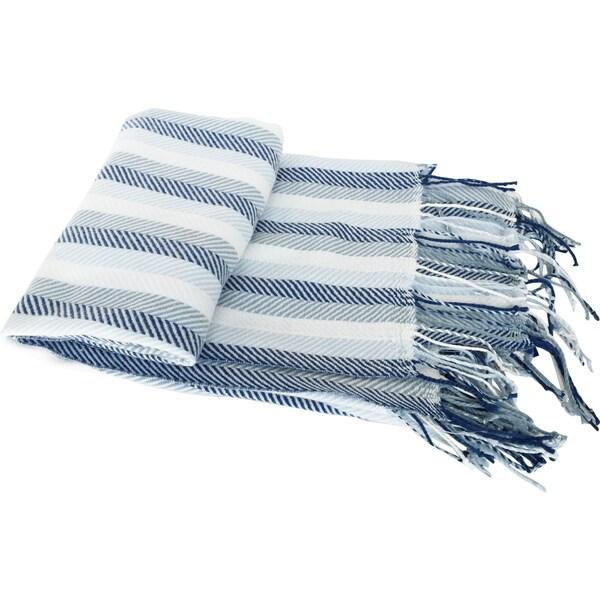 Blue Herringbone Cashmere-like Fringed Throw