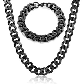 Crucible Men's Stainless Steel Cuban Curb Chain Necklace and Bracelet Set