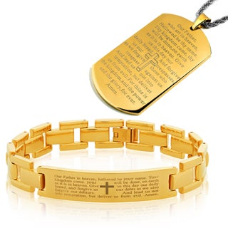 Men's High Polish Stainles Steel Lord's Prayer Bracelet and Necklace Set (Option: Yellow)