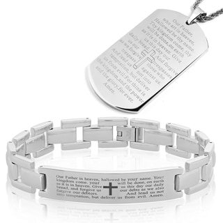 Men's High Polish Stainles Steel Lord's Prayer Bracelet and Necklace Set