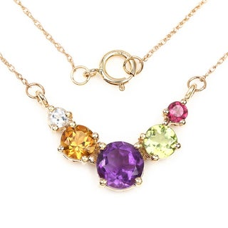 Malaika 14k Yellow Gold 2 1/3ct TGW Multi-gemstone Necklace