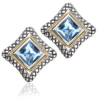 Avanti Sterling Silver and 18k Yellow Gold Princess Cut Blue Topaz Sqare Earrings