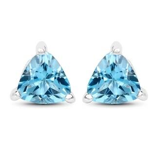 Malaika Sterling Silver Genuine Swiss Blue Topaz Trillion Earrings