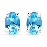 Malaika Sterling Silver Genuine Swiss Blue Topaz Earrings