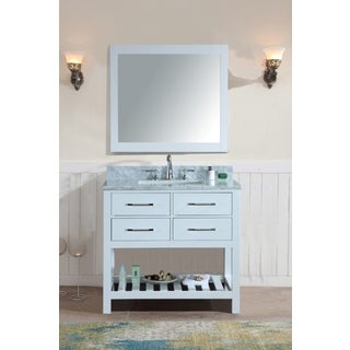 Manhattan White Birchwood 36-inch Single Bathroom Vanity Set with Mirror