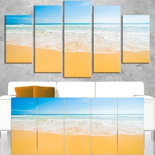 Long Waves on Sand under Blue Sky - Seashore Canvas Wall Artwork