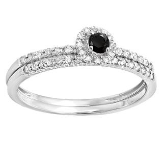 Elora 14k White Gold 1/3ct TDW Black and White Diamond Halo Engagement Ring (H-I, I1-I2)