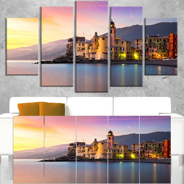 Old Mediterranean Town at Sunrise - Large Seashore Canvas Print