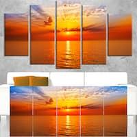 Orange Sea Sunrise under Blue Sky - Large Seashore Canvas Print