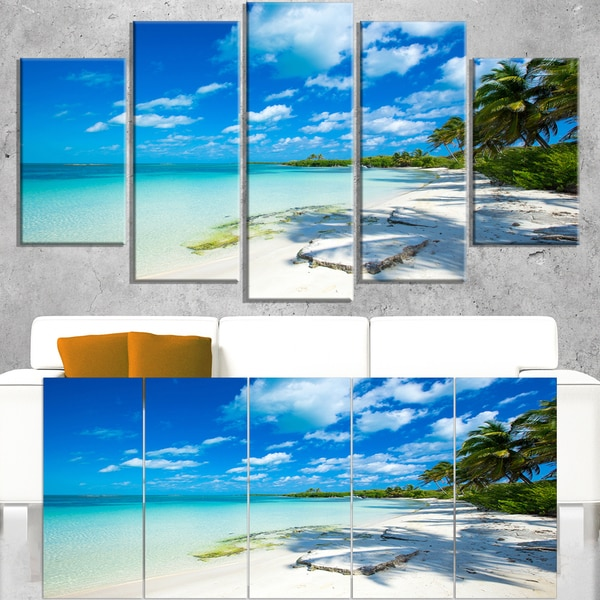 Tropical Beach With Palm Shadows Large Seashore Canvas Print Free Shipping Today Overstock