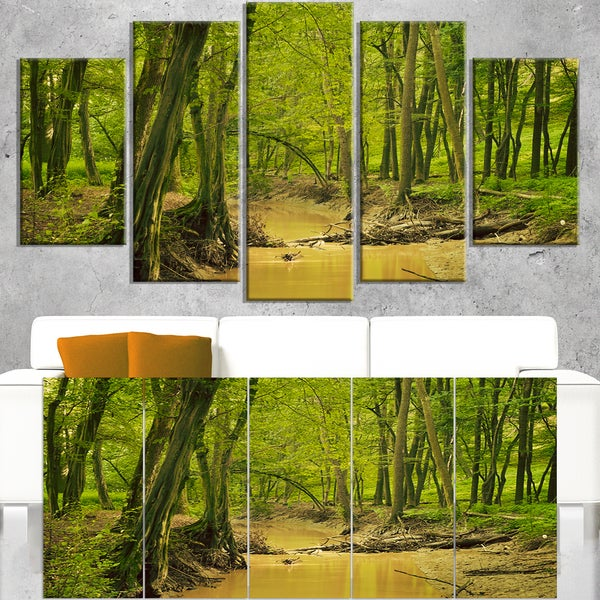 Creek in Wild Green Forest - Oversized Forest Canvas Artwork